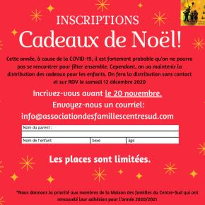 Inscriptions                         Cadeaux deNoël