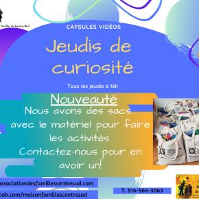 Jeudis de curiosité: donation de sacs avec du matériel pour faire toutes nosactivités