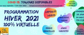 Hiver 2021 – nos activités 100% enligne