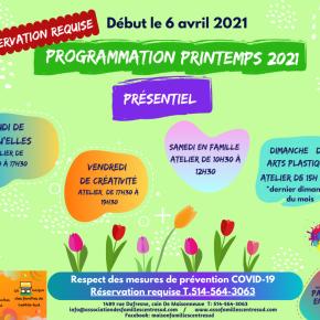 Programmation printemps 2021,présentiel