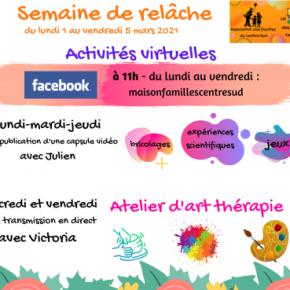 Ateliers virtuels semaine de relâche2021