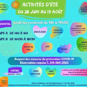 Activités d'été 2021. Du 28 juin  au 13août