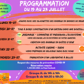 Programmation du 19 au 23juillet