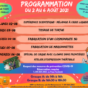 Programmation du 2 au 6 août2021