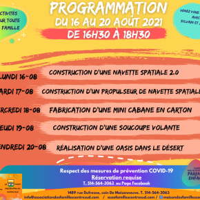 Programmation du 16 au 20 août2021