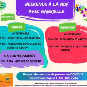 Weekends à la MDF, 25 et 26 septembre2021