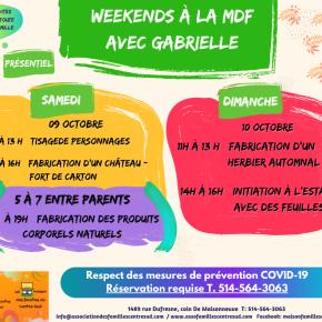 WEEKENDS À LA MDF samedi 9 et dimanche 10 octobre2021
